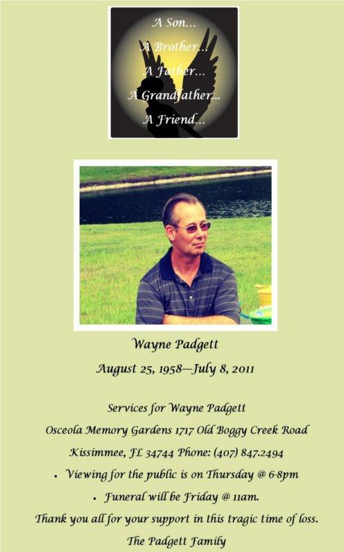 Wayne Padgett Funeral Announcement